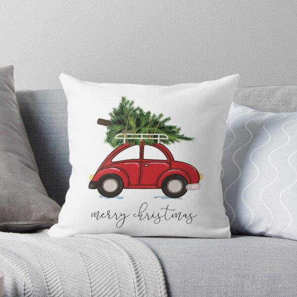 Arbre de Noël sur la voiture rouge Coussin