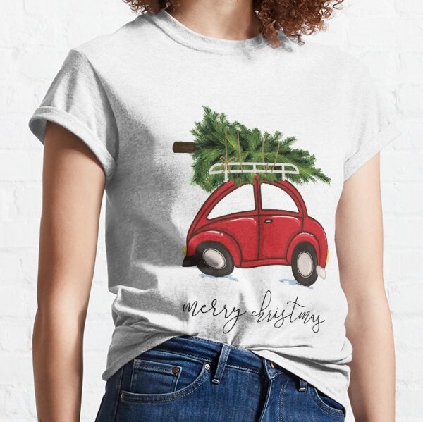 Christmas Tree on Red Car  Classic T-Shirt