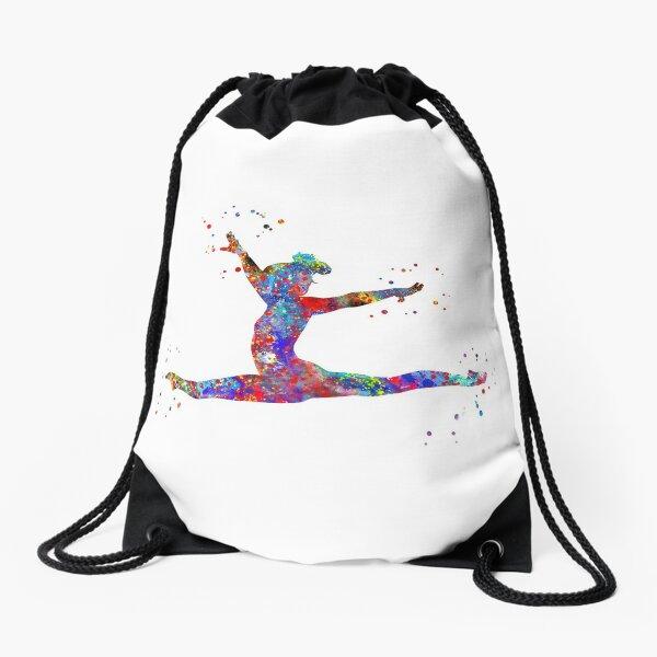Gymnastics girl, watercolor gymnastics Drawstring Bag