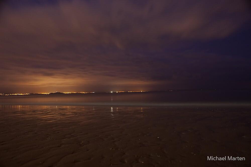 Sand and sea at dusk; Portobello, Edinburgh, Scotland by Michael Marten