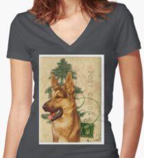 German Shepard Dog Vintage Post Card Women's Fitted V-Neck T-Shirt