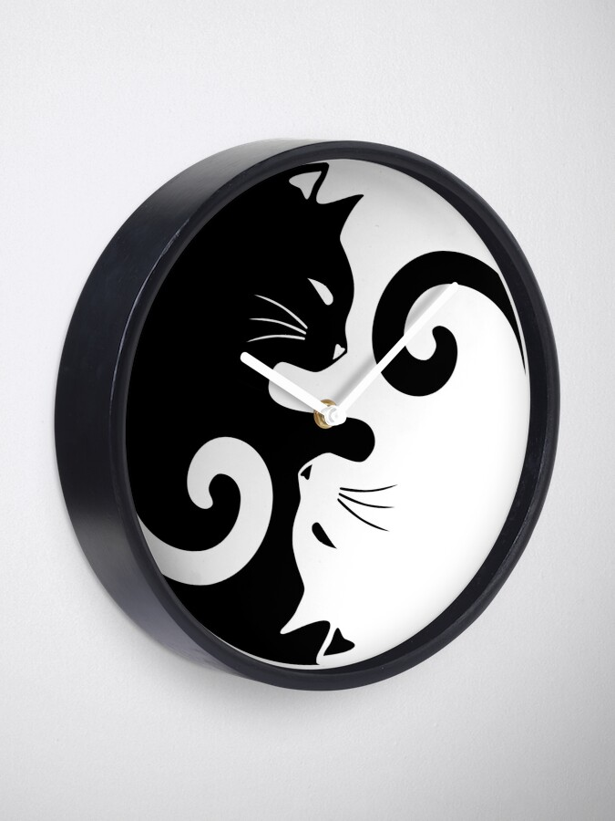 Alternate view of Ying Yang Cats - Black & White Clock