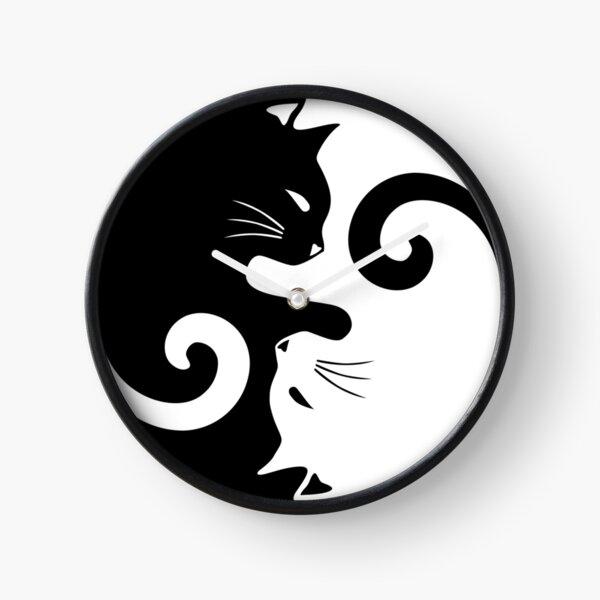Ying Yang Cats - Black & White Clock