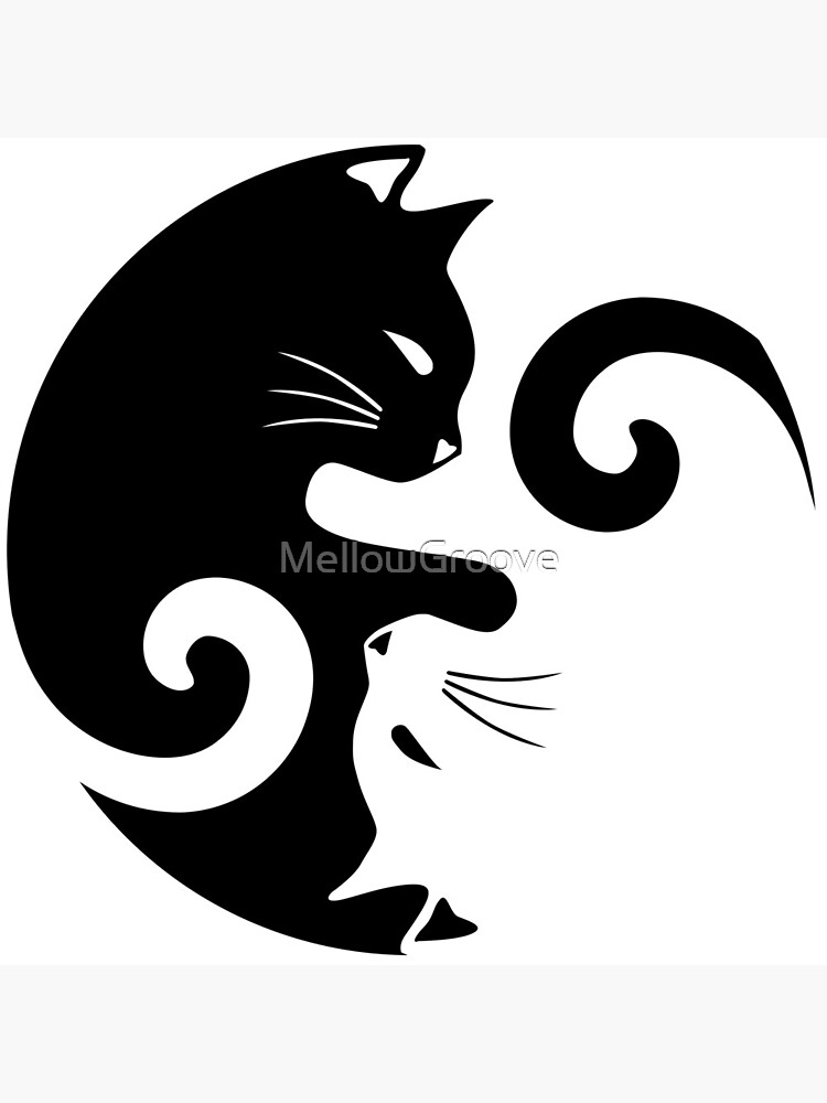 Ying Yang Cats - Black & White by MellowGroove