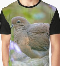 Mourning Dove On Bird Bath Graphic T-Shirt