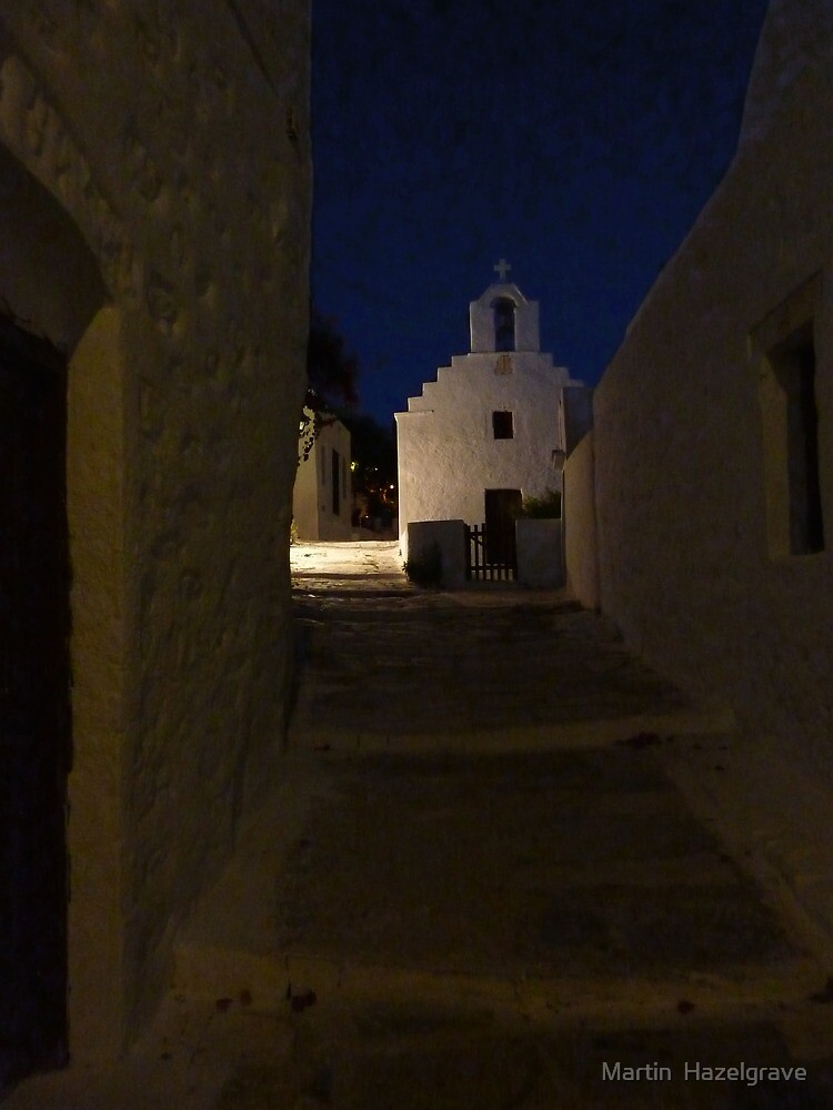 evening church Amorgos by Martin  Hazelgrave
