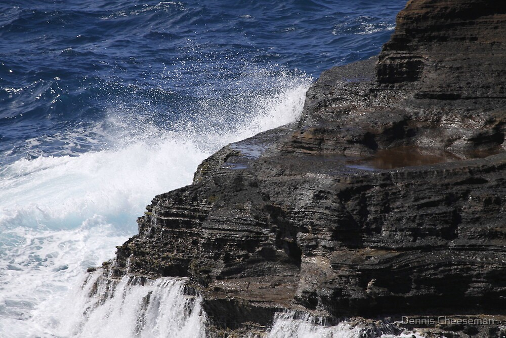 waves hitting the rocks by Dennis Cheeseman