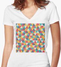 Bunte Dreiecke Shirt mit V-Ausschnitt