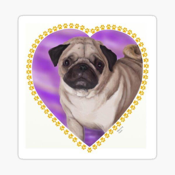 Puppy Pug Portrait Sticker