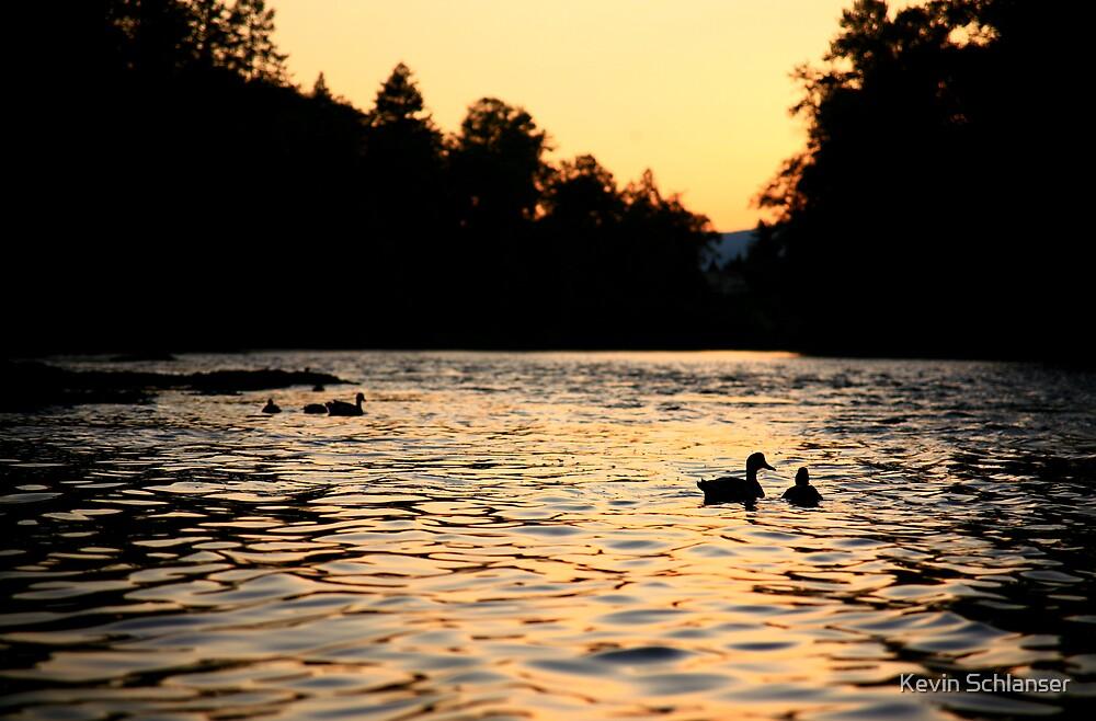 Dusk River Ducks by Kevin Schlanser
