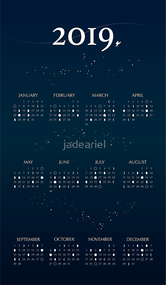 2019 Moon Phases Calendar By Jadeariel Redbubble