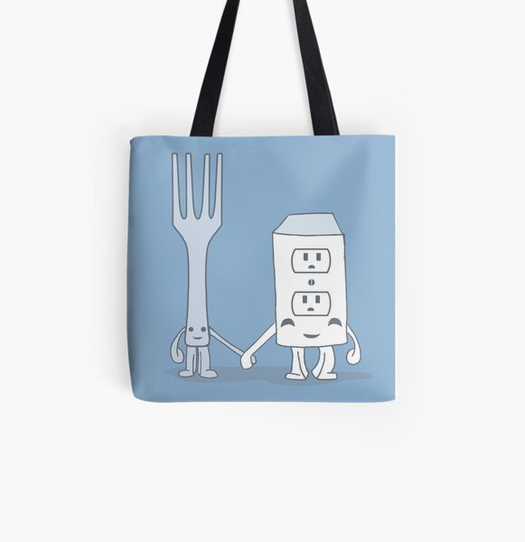 The Cutest Couple: Fork & Electrical Outlet All Over Print Tote Bag