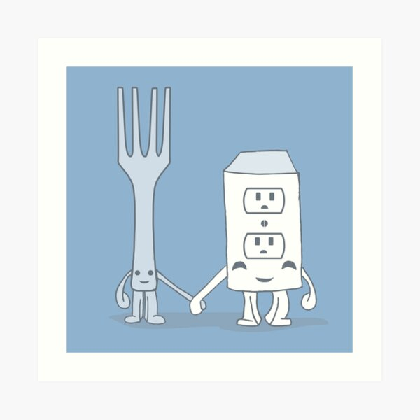 The Cutest Couple: Fork & Electrical Outlet Art Print