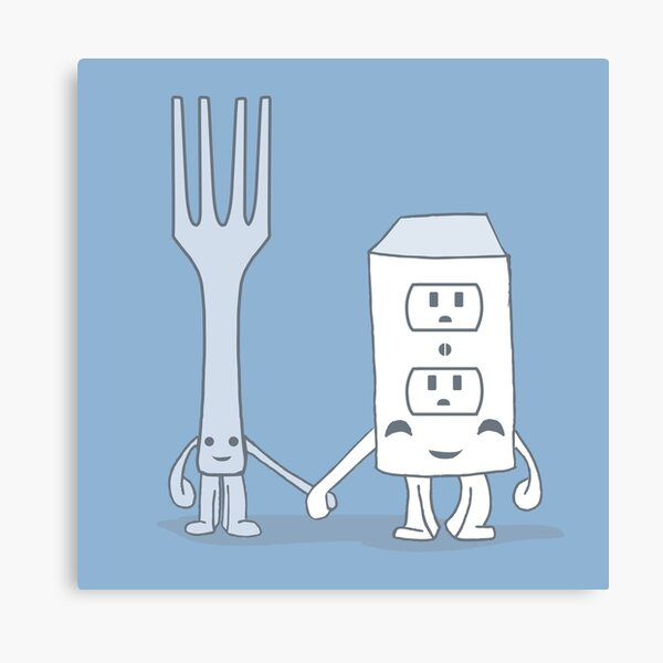 The Cutest Couple: Fork & Electrical Outlet Canvas Print