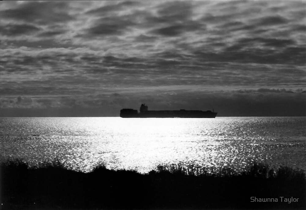 A Freighter At Anchor As Night Rolls In  by Shawnna Taylor