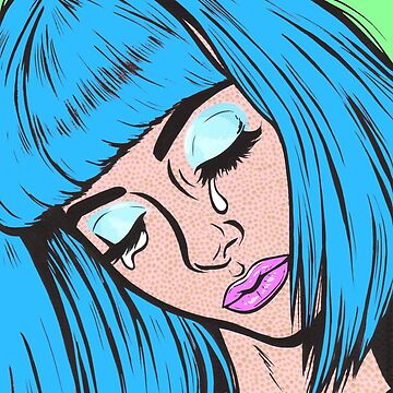 Blue Bangs Crying Comic Girl by turddemon