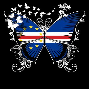 Cape Verde Flag Butterfly Cape Verdean National Flag DNA Heritage Roots Gift  by nikolayjs
