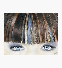 Blue Eyes Coloured Pencil Drawing (Natural Colour) Photographic Print