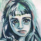 Mia - abstract painted portrait of a thinker #1 by ArtsyAnts
