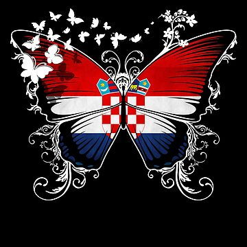 Croatia Flag Butterfly Croatian National Flag DNA Heritage Roots Gift  by nikolayjs