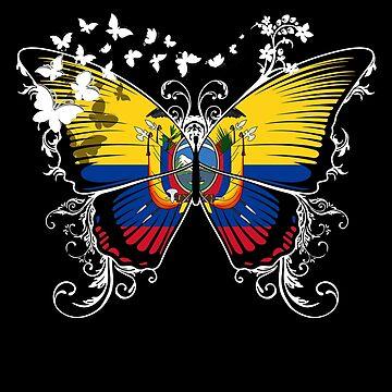 Ecuador Flag Butterfly Ecuadorean National Flag DNA Heritage Roots Gift  by nikolayjs