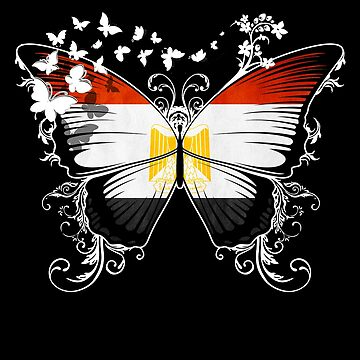 Egypt Flag Butterfly Egyptian National Flag DNA Heritage Roots Gift  by nikolayjs