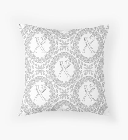 Letter X Black And White Wreath Monogram Initial Floor Pillow