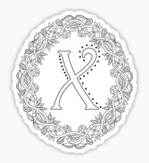 Letter X Black And White Wreath Monogram Initial Sticker