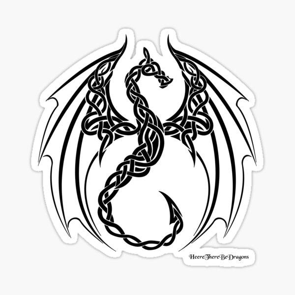 Celtic knot Dragon: Black Sticker