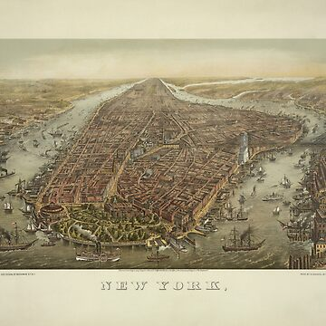 Vintage New York City - Bird's Eye View - 1874 by warishellstore