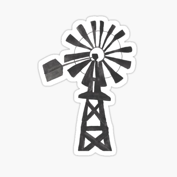 Black Windmill Country Watercolor Painting Sticker