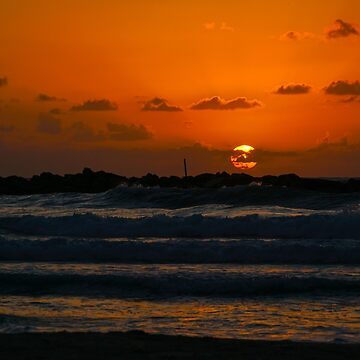 Sunset over the Mediterranean sea. Photographed in Tel Aviv, Israel  by PhotoStock-Isra
