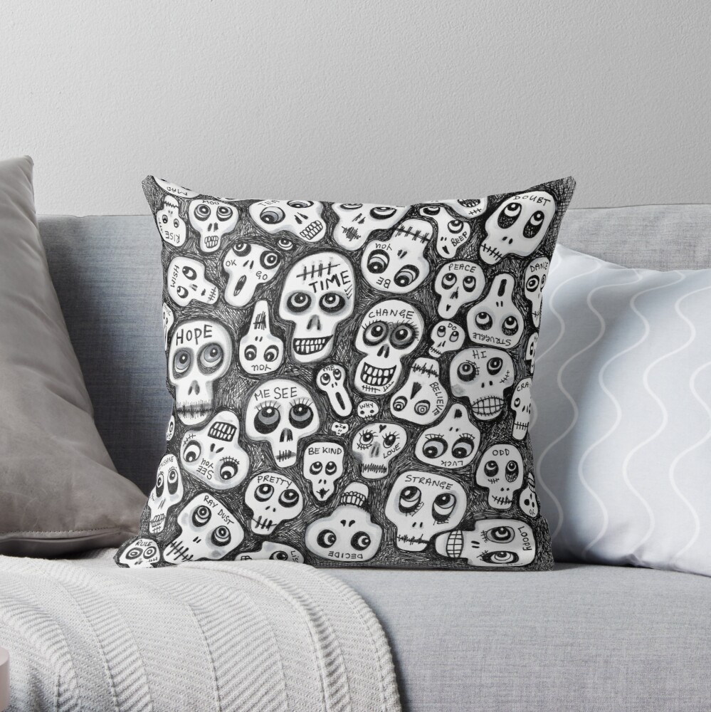 The Skull People Throw Pillow