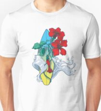 Wave in bloom - Surfboard with Hibiscus  Unisex T-Shirt