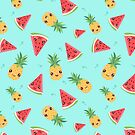 Kawaii Tropical Pineapple & Watermelon by redwoodandvine