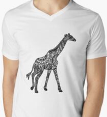 Printed Giraffe Men's V-Neck T-Shirt