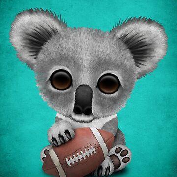 Cute Baby Koala Playing With Football by JeffBartels