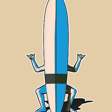 Surfboard Shaka Man by AaronKinzer