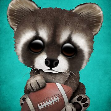 Cute Baby Raccoon Playing With Football by JeffBartels