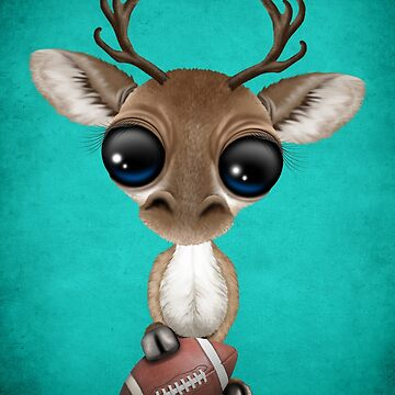 Cute Baby Reindeer Playing With Football by JeffBartels