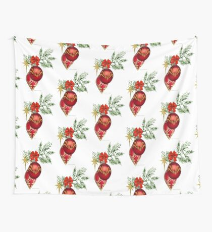 Red & Gold Ornaments Wall Tapestry