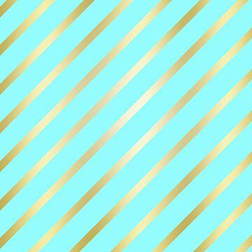 Sea Glass Blue and Gold Diagonal Lines by GrumpyBoobsArt