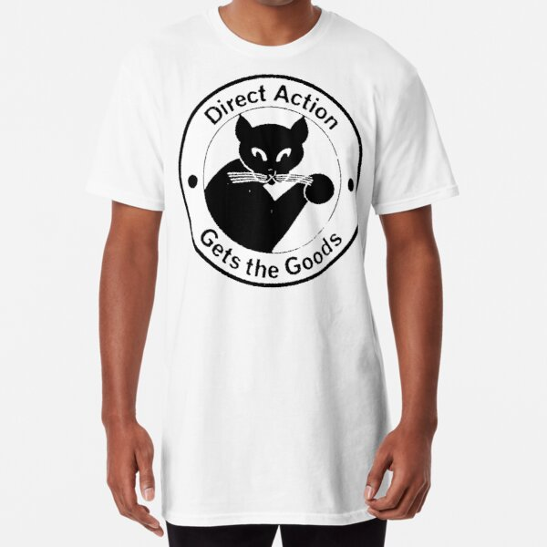 Direct Action Gets The Goods - Anarchist Black Cat Logo Long T-Shirt