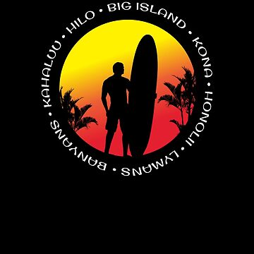 Big Island Hawaii Surfing Cool Sunset Palm Tree Surf by hlcaldwell