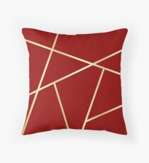 Velvet Red and Gold Criss-Cross Thick Throw Pillow