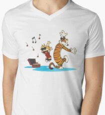 calvin and hobbes dancing with music Men's V-Neck T-Shirt
