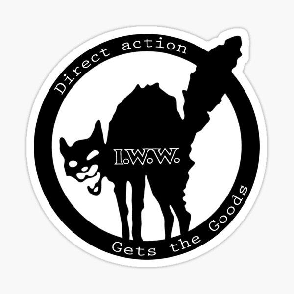 La acción directa obtiene los bienes - Trabajadores industriales del mundo (I.W.W.) Pegatina