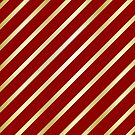 Velvet Red and Gold Diagonal Lines by GrumpyBoobsArt