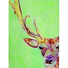 Lime green red stag by carolineskinner
