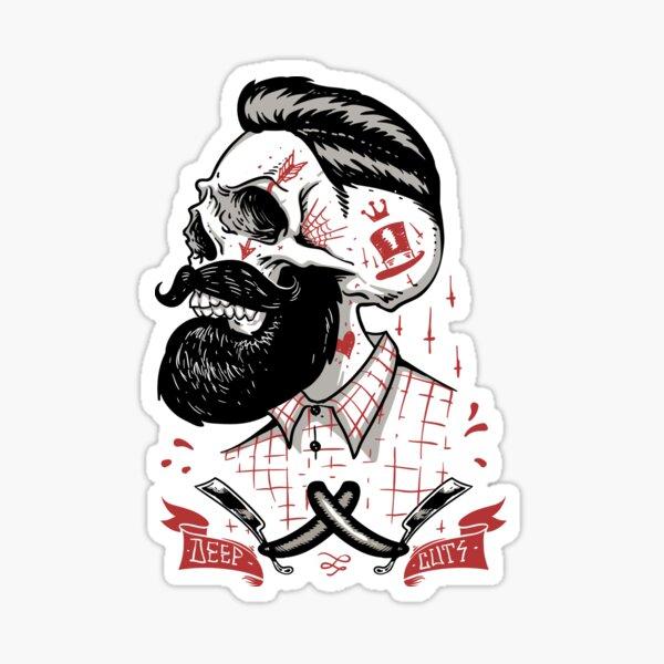Deep Cuts, Barbers Shirt, Barbershop T-shirts and Gifts.  Sticker